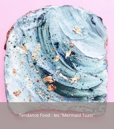 Article sur la tendance food des mermaid toasts aux couleurs sirène et nuances bleu fabriqués par la designer culinaire Adeline Waugh sur Instagram.