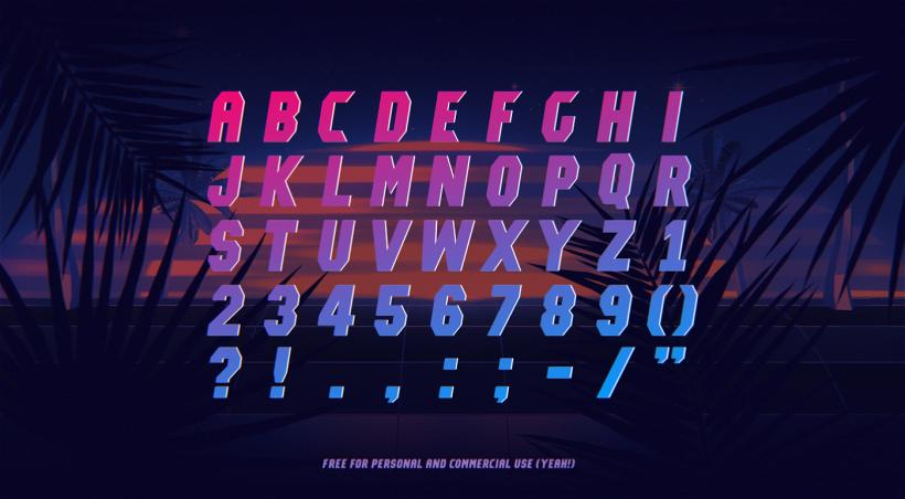 Typographie / Police d'écriture gratuite (free font) de style année 80