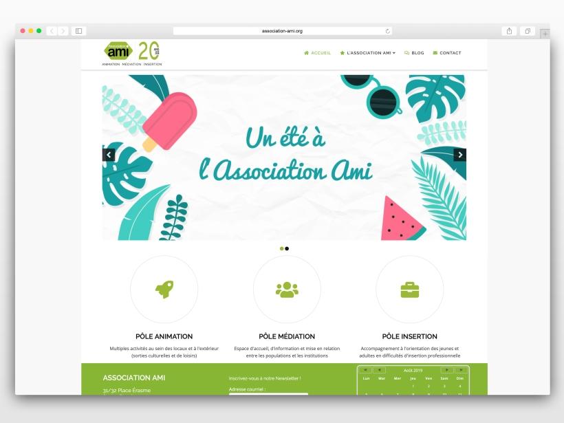 Safari Mockup de la page d'accueil du site web de l'Association AMI à Hautepierre (Strasbourg) - 2019